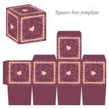 Modello della scatola con i confini ed i cuori decorativi Fotografie Stock
