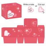 Modello della scatola con i cuori e la spruzzata rossi Fotografie Stock