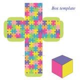 Modello della scatola con il modello di puzzle Immagini Stock