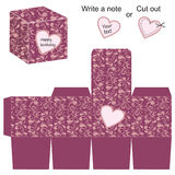 Modello della scatola con il modello ed il cuore floreali Immagine Stock
