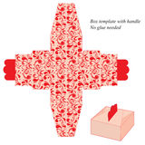 Modello della scatola con la maniglia Nessuna colla stata necessaria MODELLO FLOREALE ROSSO Immagini Stock