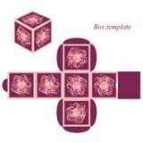Modello della scatola quadrata con il coperchio elementi floreali e strutture decorative Fotografie Stock