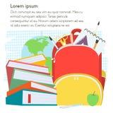 Modello della scuola con lo zaino ed i libri con il posto del testo Illustrazione di vettore Fotografia Stock Libera da Diritti