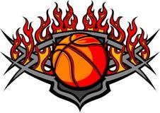 Modello della sfera di pallacanestro con l'immagine delle fiamme Immagine Stock