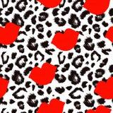 Modello della stampa del leopardo Ripetizione del vettore senza cuciture illustrazione di stock