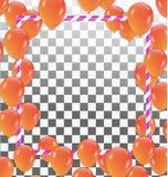 Modello della struttura del fondo di celebrazione con i palloni arancio Fotografie Stock