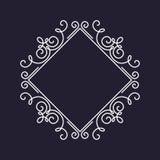 Modello della struttura del monogramma, ornamento floreale, quadrato Immagini Stock