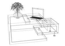 Modello della tavola 3D del computer di Moder - isolato royalty illustrazione gratis