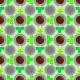 Modello della tazza di caffè Fondo sveglio con la tazza Raccolta del caffè Fotografia Stock