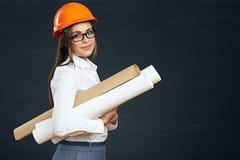 Modello della tenuta dello sviluppatore dell'ingegnere della donna di affari Immagini Stock Libere da Diritti