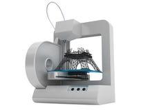 modello della torre Eiffel di configurazione della stampante 3d Fotografia Stock