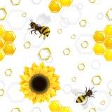 Modello delle api e dei girasoli sopra i favi illustrazione di stock