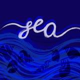 Modello delle conchiglie iscrizione Mondo subacqueo Illustrazione di vettore Immagini Stock Libere da Diritti