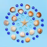 Modello delle conchiglie, delle stelle marine e delle perle di vetro blu su un fondo blu-chiaro Fotografia Stock