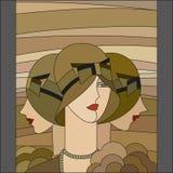 Modello delle donne alla moda Tre falde Modello del vetro macchiato di art deco illustrazione di stock