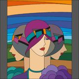 Modello delle donne alla moda Tre falde Modello del vetro macchiato di art deco illustrazione vettoriale