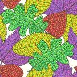 Modello delle foglie dell'acero e della quercia di autunno. Illustrazione di Stock