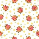 Modello delle foglie di autunno su fondo bianco Immagini Stock Libere da Diritti