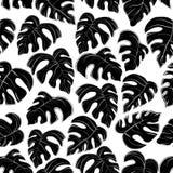 modello delle foglie di palma nere su fondo bianco illustrazione vettoriale