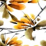 Modello delle foglie e dei fiori Fotografia Stock Libera da Diritti