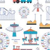 Modello delle icone del parco di divertimenti Immagini Stock Libere da Diritti