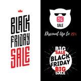 Modello delle insegne di vendita di Black Friday Maiale in occhiali da sole con inscr Fotografia Stock Libera da Diritti