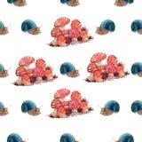 Modello delle lumache dell'acquerello Immagini Stock