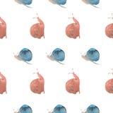Modello delle lumache dell'acquerello Fotografia Stock Libera da Diritti