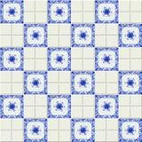 Modello delle mattonelle bianche e dipinte a mano dell'acquerello in olandese lo stile del blu di Delft Fotografia Stock Libera da Diritti