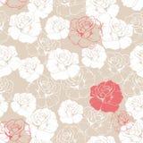 Modello delle mattonelle con le rose su fondo beige Fotografia Stock Libera da Diritti
