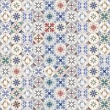 Modello delle mattonelle idrauliche, tipici senza cuciture della Spagna, dell'Italia e del Portogallo Fotografia Stock Libera da Diritti