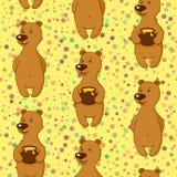 Modello delle mattonelle, orso con miele Fotografia Stock