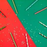 Modello delle paglie del ricevimento pomeridiano di Natale del nuovo anno immagine stock
