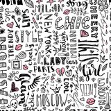 Modello delle parole e delle lettere ed accessori delle donne s Senza cuciture alla moda Fotografie Stock Libere da Diritti