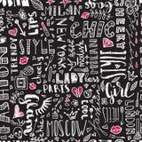 Modello delle parole e delle lettere ed accessori delle donne s Senza cuciture alla moda illustrazione vettoriale