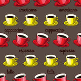 Modello delle tazze di caffè Immagini Stock