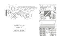Modello dello scaricatore estraente su fondo bianco Vista frontale laterale, posteriore e Immagine del camion pesante del profilo royalty illustrazione gratis