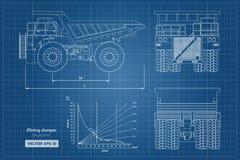 Modello dello scaricatore estraente Vista frontale laterale, posteriore e Immagine del camion pesante del profilo Disegno industr illustrazione vettoriale