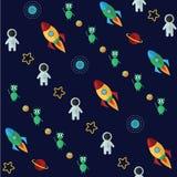 Modello dello spazio con le comete delle stelle dei pianeti Immagine Stock