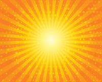 Modello dello sprazzo di sole di Sun con i cerchi. Cielo arancio. Immagine Stock
