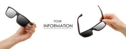 Modello determinato del nero degli occhiali da sole a disposizione immagini stock libere da diritti