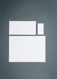 Modello di affari del modello con le carte, carte Fondo grigio Fotografia Stock