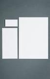 Modello di affari del modello con le carte, carte, penna Fondo grigio Immagini Stock