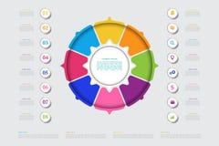 Modello di affari di vettore per la presentazione Visualizzazione moderna di dati Elementi astratti del grafico, diametro illustrazione di stock