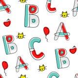 Modello di alfabeto di vettore del fumetto dei bambini senza cuciture con l'illustrazione Fotografia Stock