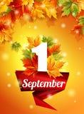 Modello di alta qualità il 1° settembre, foglie di autunno realistiche, la prima chiamata Nastro rosso sopra Illustrazione di ris Fotografia Stock Libera da Diritti