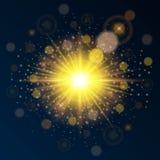Modello di alta qualità luminoso dell'oro per il nuovo anno ed il Natale Usi l'effetto luminoso di luce solare Illustrazione di v Immagini Stock