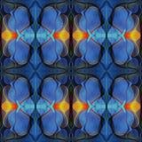 Modello di alta risoluzione senza cuciture Colourful ornamentale in blu ed in arancio royalty illustrazione gratis