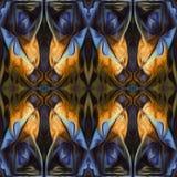 Modello di alta risoluzione senza cuciture Colourful ornamentale in blu, nel giallo ed in arancia illustrazione vettoriale