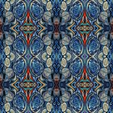 Modello di alta risoluzione senza cuciture Colourful ornamentale in blu, nel rosso e nel bianco illustrazione vettoriale